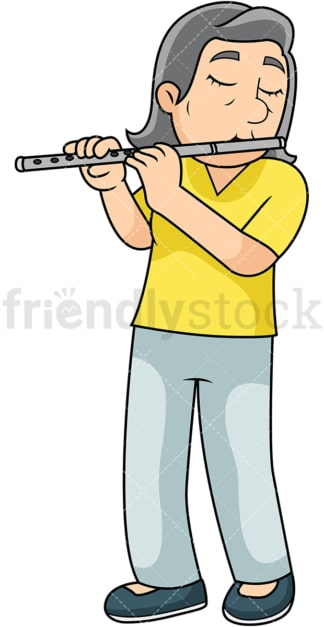 Old woman playing the flute. PNG - JPG and vector EPS file formats (infinitely scalable). Image isolated on transparent background.