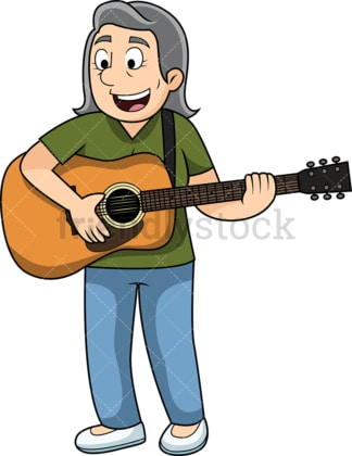Old woman playing the guitar. PNG - JPG and vector EPS file formats (infinitely scalable). Image isolated on transparent background.