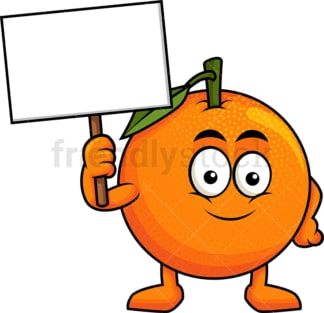Orange cartoon character holding blank sign. PNG - JPG and vector EPS (infinitely scalable). Image isolated on transparent background.