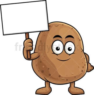 Potato cartoon character holding blank sign. PNG - JPG and vector EPS (infinitely scalable). Image isolated on transparent background.