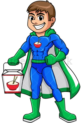 Superhero chinese food delivery boy. PNG - JPG and vector EPS (infinitely scalable). Image isolated on transparent background.
