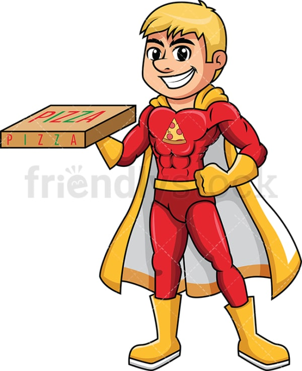Superhero pizza delivery boy. PNG - JPG and vector EPS (infinitely scalable). Image isolated on transparent background.
