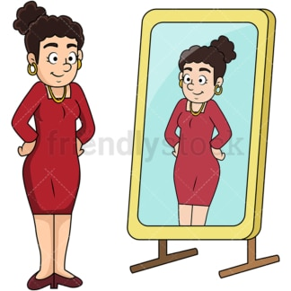 Woman looking into mirror. PNG - JPG and vector EPS file formats (infinitely scalable). Image isolated on transparent background.