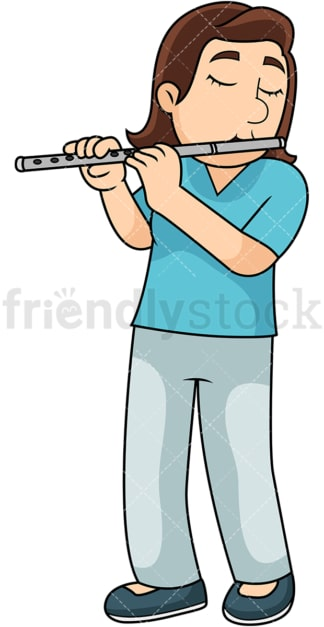 Woman playing the flute. PNG - JPG and vector EPS file formats (infinitely scalable). Image isolated on transparent background.