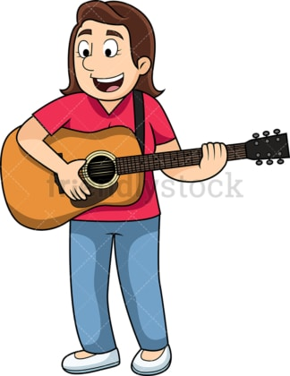 Woman playing the guitar. PNG - JPG and vector EPS file formats (infinitely scalable). Image isolated on transparent background.