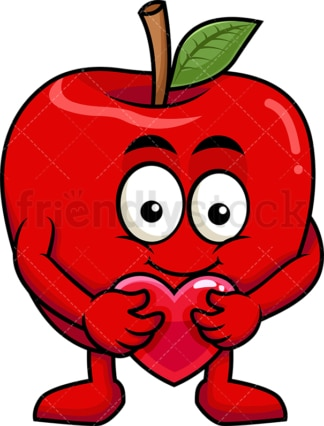 Apple cartoon character hugging heart icon. PNG - JPG and vector EPS (infinitely scalable). Image isolated on transparent background.