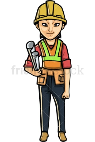 Asian female construction worker. PNG - JPG and vector EPS file formats (infinitely scalable). Image isolated on transparent background.