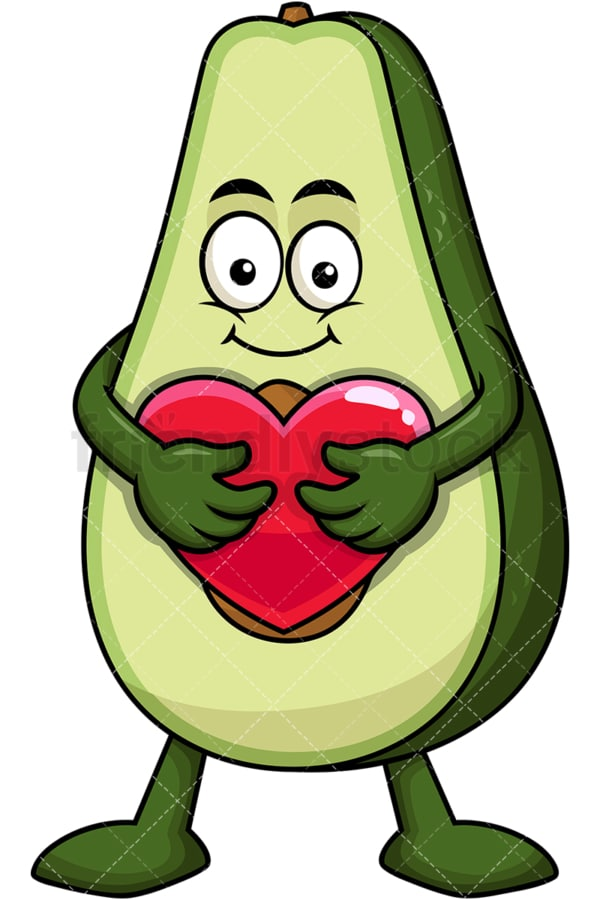 Avocado cartoon character hugging heart icon. PNG - JPG and vector EPS (infinitely scalable). Image isolated on transparent background.