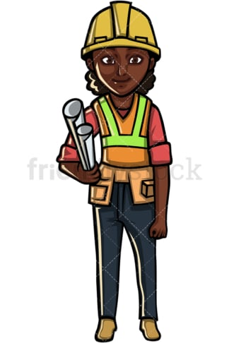 African American female architect. PNG - JPG and vector EPS file formats (infinitely scalable). Image isolated on transparent background.