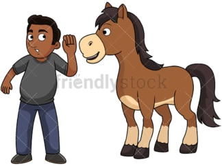 Black guy hears it straight from the horse's mouth. PNG - JPG and vector EPS file formats (infinitely scalable). Image isolated on transparent background.