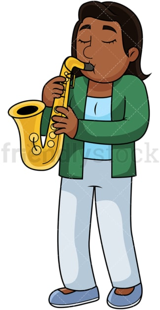Black woman playing the saxophone. PNG - JPG and vector EPS file formats (infinitely scalable). Image isolated on transparent background.