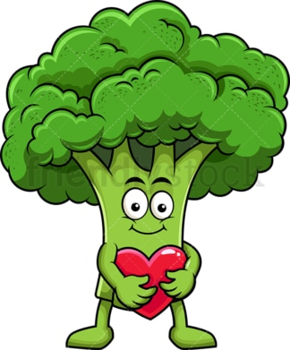 Broccoli cartoon character hugging heart icon. PNG - JPG and vector EPS (infinitely scalable). Image isolated on transparent background.