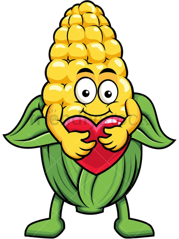 Maize cartoon character hugging heart icon. PNG - JPG and vector EPS (infinitely scalable). Image isolated on transparent background.