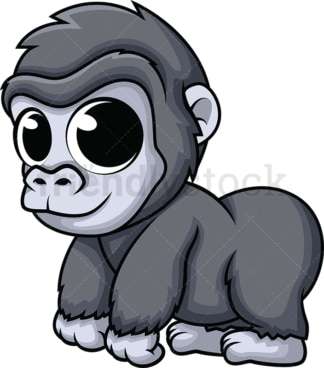Adorable baby gorilla. PNG - JPG and vector EPS (infinitely scalable). Image isolated on transparent background.