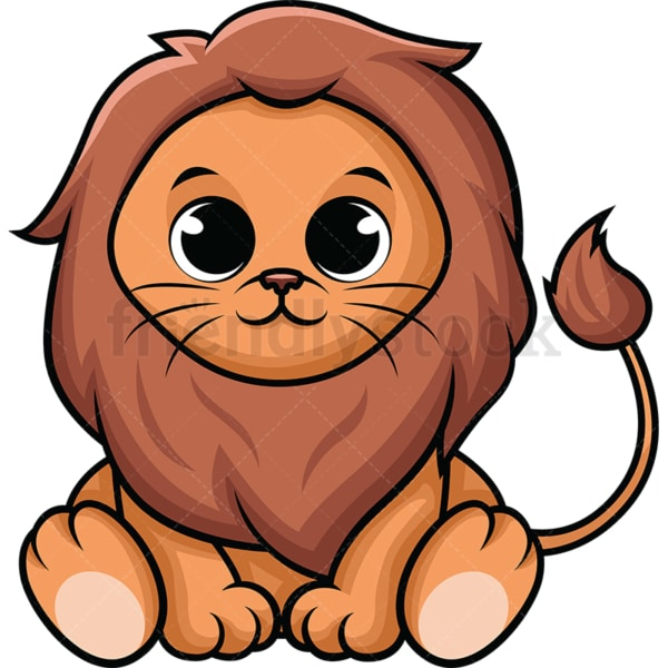 Adorable baby lion. PNG - JPG and vector EPS (infinitely scalable). Image isolated on transparent background.