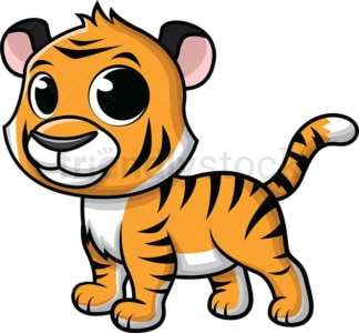 Adorable little tiger. PNG - JPG and vector EPS (infinitely scalable). Image isolated on transparent background.