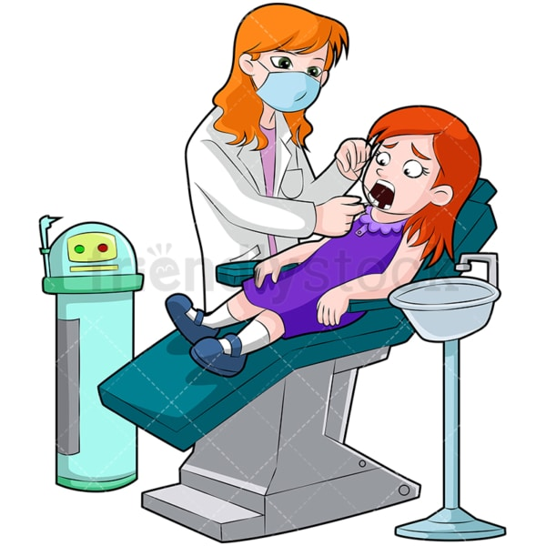 Dentist flossing little girls teeth. PNG - JPG and vector EPS (infinitely scalable). Image isolated on transparent background.