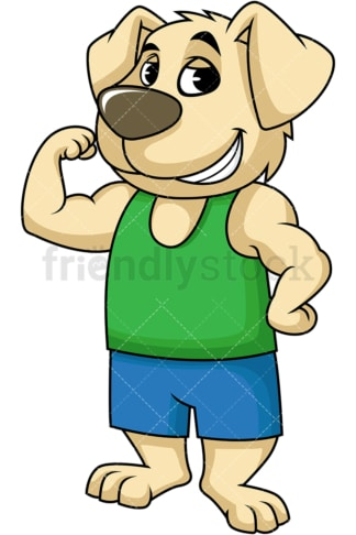 Dog cartoon character flexing muscles. PNG - JPG and vector EPS (infinitely scalable). Image isolated on transparent background.