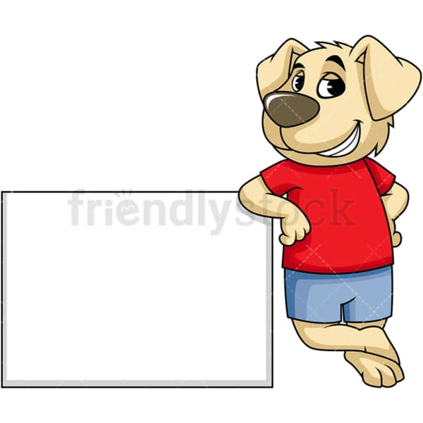 Dog cartoon character leaning on blank sign. PNG - JPG and vector EPS (infinitely scalable). Image isolated on transparent background.