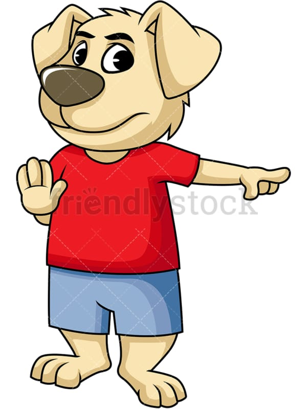 Dog cartoon character stop and pay attention. PNG - JPG and vector EPS (infinitely scalable). Image isolated on transparent background.