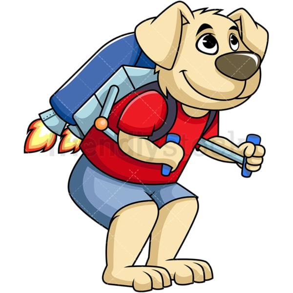 Dog cartoon character wearing jetpack. PNG - JPG and vector EPS (infinitely scalable). Image isolated on transparent background.