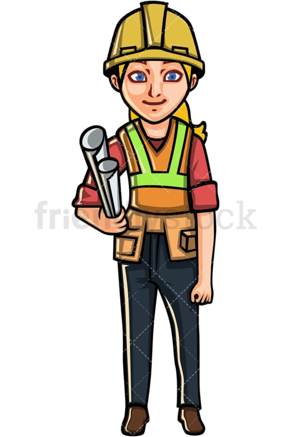 Female engineer with hard hat. PNG - JPG and vector EPS file formats (infinitely scalable). Image isolated on transparent background.