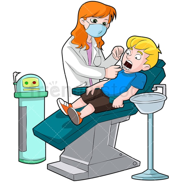 Female dentist flossing teeth of boy. PNG - JPG and vector EPS (infinitely scalable). Image isolated on transparent background.