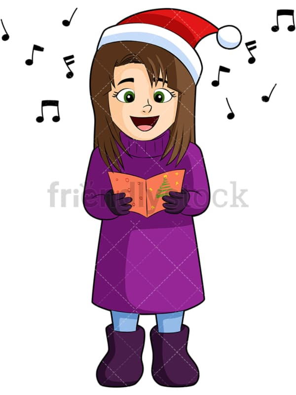 Little girl singing christmas carols. PNG - JPG and vector EPS (infinitely scalable). Image isolated on transparent background.