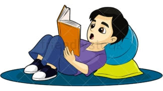 Kid reading a book. PNG - JPG and vector EPS (infinitely scalable). Image isolated on transparent background.
