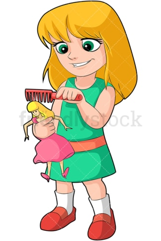 Little girl combing her doll's hair. PNG - JPG and vector EPS (infinitely scalable). Image isolated on transparent background.