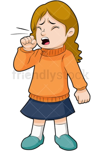 Sick little girl coughing. PNG - JPG and vector EPS (infinitely scalable). Image isolated on transparent background.