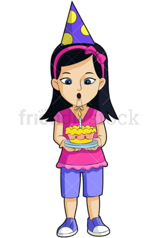 Little girl holding birthday cake. PNG - JPG and vector EPS (infinitely scalable). Image isolated on transparent background.