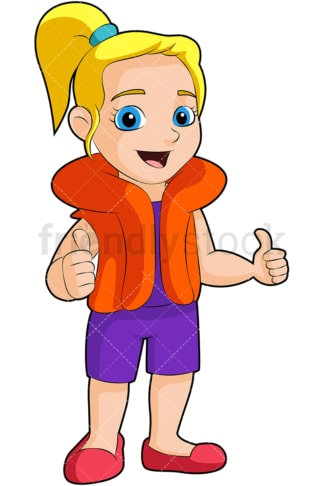 Little girl wearing life jacket. PNG - JPG and vector EPS (infinitely scalable). Image isolated on transparent background.