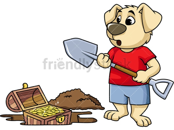 Cartoon character dog digging up treasure chest. PNG - JPG and vector EPS (infinitely scalable). Image isolated on transparent background.