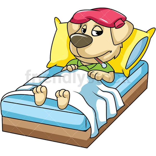 Dog character sick in bed. PNG - JPG and vector EPS (infinitely scalable). Image isolated on transparent background.