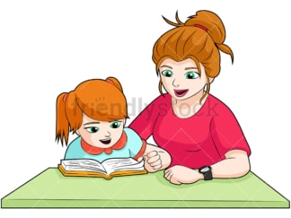Mom and daughter doing homework. PNG - JPG and vector EPS (infinitely scalable). Image isolated on transparent background.