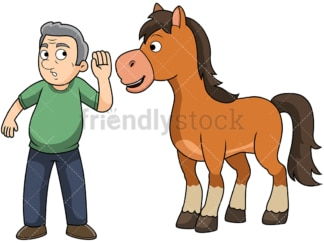 Old man hearing it straight from the horse's mouth. PNG - JPG and vector EPS file formats (infinitely scalable). Image isolated on transparent background.