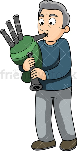 Old man playing bagpipes player. PNG - JPG and vector EPS file formats (infinitely scalable). Image isolated on transparent background.