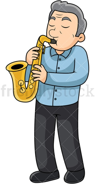Old man playing the saxophone. PNG - JPG and vector EPS file formats (infinitely scalable). Image isolated on transparent background.