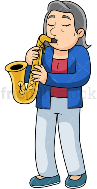 Old woman playing the saxophone. PNG - JPG and vector EPS file formats (infinitely scalable). Image isolated on transparent background.