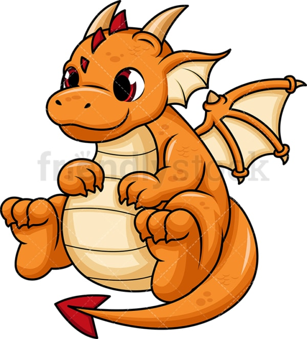 Orange chubby dragon. PNG - JPG and vector EPS (infinitely scalable). Image isolated on transparent background.
