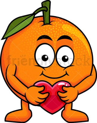 Orange cartoon character hugging heart icon. PNG - JPG and vector EPS (infinitely scalable). Image isolated on transparent background.