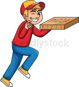 Pizza delivery boy winking. PNG - JPG and vector EPS (infinitely scalable). Image isolated on transparent background.