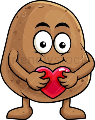 Potato cartoon character hugging heart icon. PNG - JPG and vector EPS (infinitely scalable). Image isolated on transparent background.