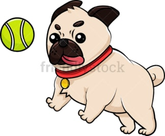Pug playing with tennis ball. PNG - JPG and vector EPS (infinitely scalable). Image isolated on transparent background.