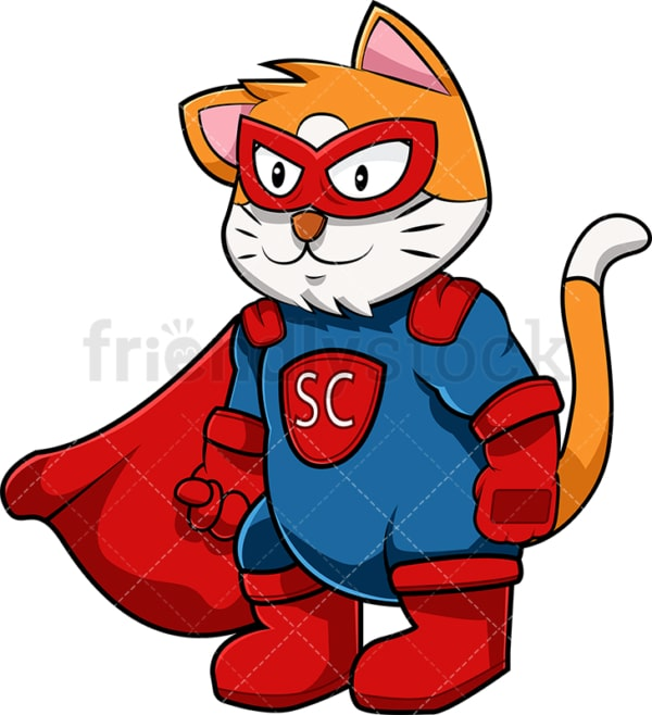 Superhero cat cartoon character. PNG - JPG and vector EPS (infinitely scalable). Image isolated on transparent background.