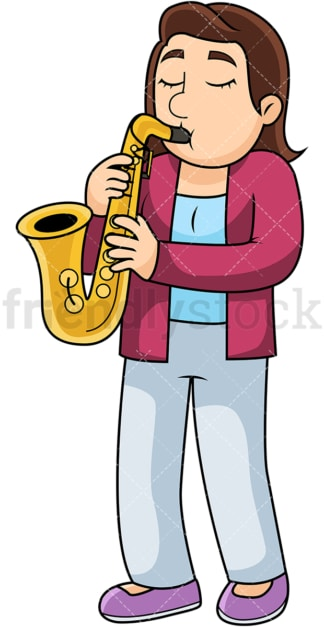 Woman playing the saxophone. PNG - JPG and vector EPS file formats (infinitely scalable). Image isolated on transparent background.