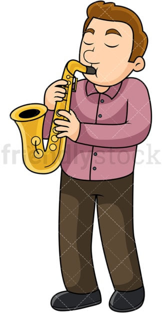 Man playing the saxophone. PNG - JPG and vector EPS file formats (infinitely scalable). Image isolated on transparent background.