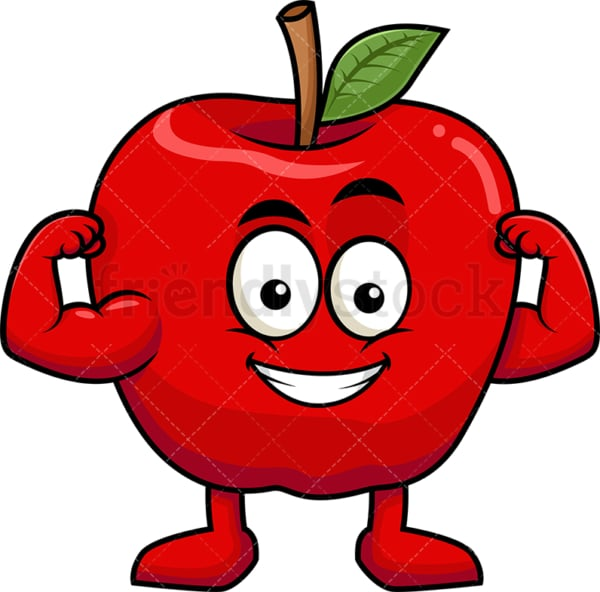 Apple cartoon character flexing muscles. PNG - JPG and vector EPS (infinitely scalable). Image isolated on transparent background.