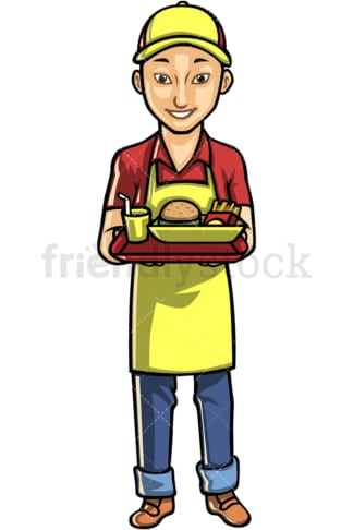 Asian male waiter. PNG - JPG and vector EPS file formats (infinitely scalable). Image isolated on transparent background.